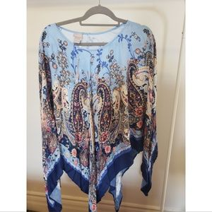 NWT Chicos Blue Silky Pancho
